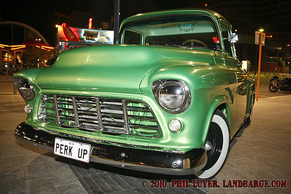 Kim's PERK UP Chev pickup parked at Scarborough