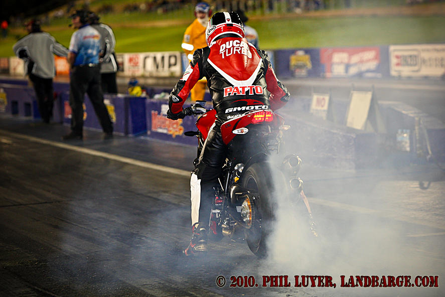 Wayne Patterson warming the rear tyre on his Ducati at the Perth Motorplex
