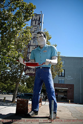Babe's Muffler Man stands tall on The Alemada, part of the current Route 82, the designation for El Camino Real from San Francisco to San Jose