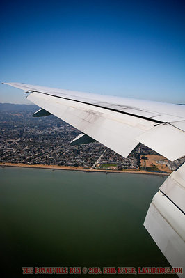 View out the window of our plane as we descend towards San Francisco