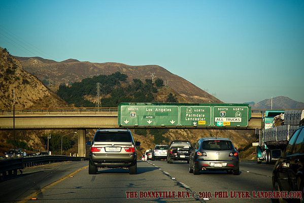 Highway signage announces our approach to Los Angeles