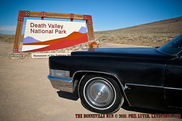 The Cadillac at the entrance to the Death Valley National Park