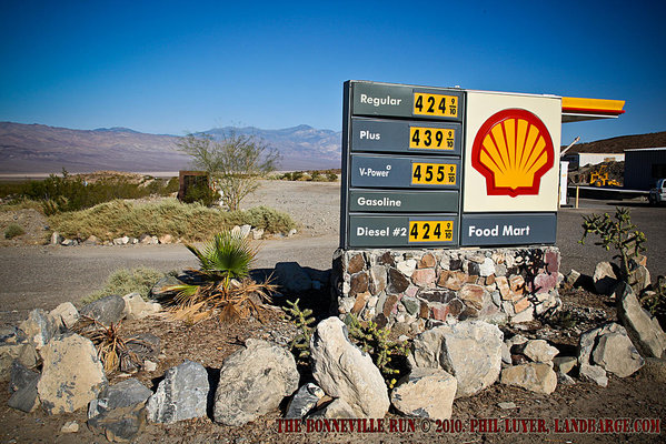 Crazy gas prices in Death Valley, but still cheaper than home, but just over the border in Nevada, they're almost $2 cheaper per gallon