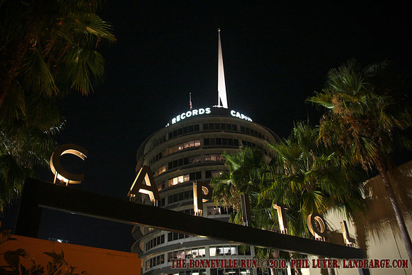The Capitol Records tower at night