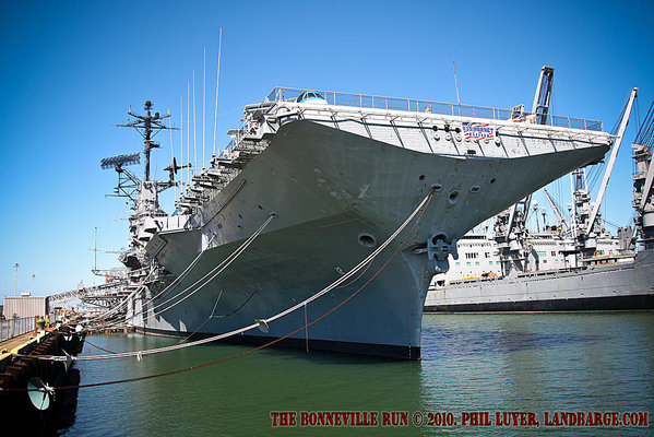 The USS Hornet tied up at Alameda Point