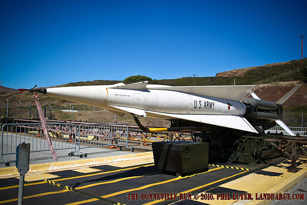 A Nike Hercules missile on the launch pad at SF-88