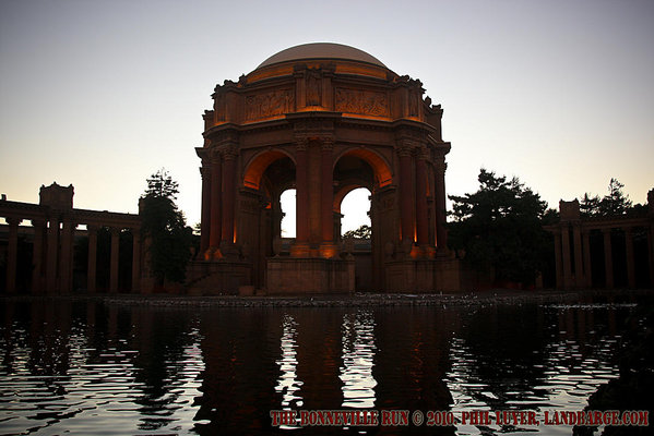 The Palace of the Fine Arts at dusk, lighting just starting to take effect