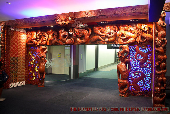 This Maori inspired archway greets visitors to Auckland International Airport